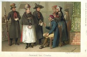 Jamneńczycy wstrojach weselnych, litografia z1891r. wykonana przezAlexandra Kretschmera/ www.strojeludowe.net