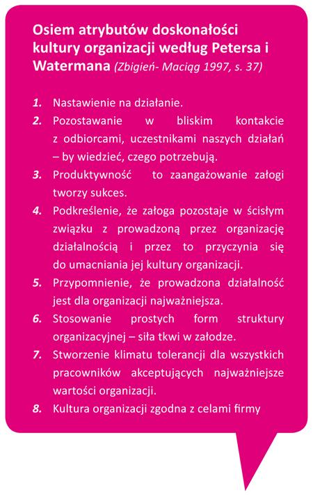 ARAA2013 Osiem atrybutów doskonałości kultury organizacji według Petersa iWatermana