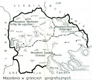 Macedonia wgranicach geograficznych, mapa