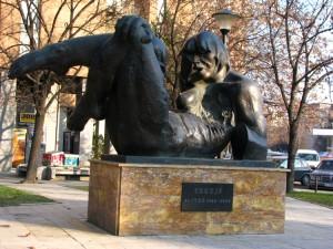 Pomnik upamiętniający ofiary trzęsienia ziemi wSkopje z1963 roku