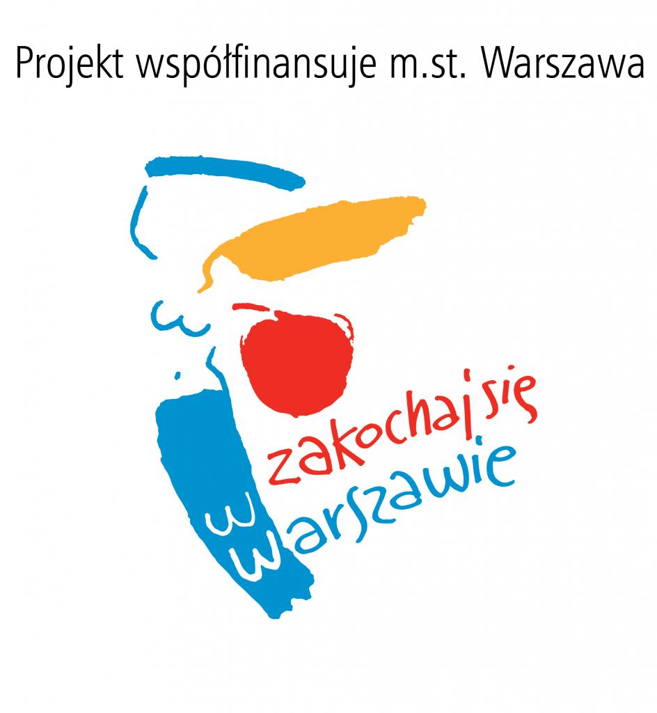 logo zsyrenką, napis Projekt współfinansuje m.st. Warszawa. Zakochaj się wWarszawie