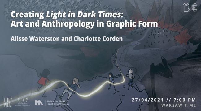 Grafika promująca wydarzenie: postaci trzymające świetlisty sznur.