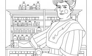 rysunek do pokolorowania - Antonina Leśniewska stoi z flakonikiem w ręku na tle szafki z lekami