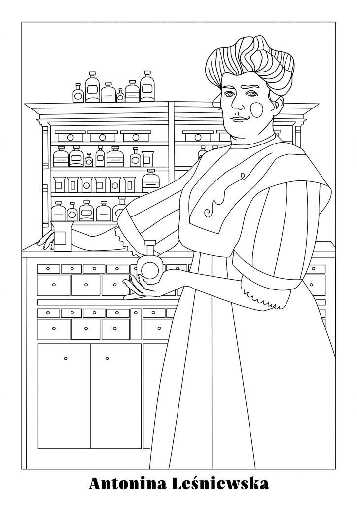 rysunek dopokolorowania - Antonina Leśniewska stoi zflakonikiem wręku natle szafki zlekami