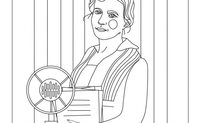 rysunek przedstawiający Irenę Kosmowską na mównicy w Sejmie