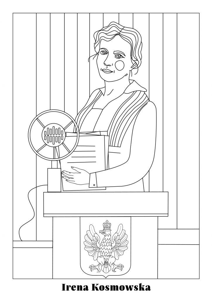 Irena Kosmowska - rysunek przedstawiający bohaterkę namównicy wSejmie