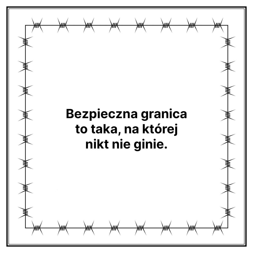 narysowana ramka zdrutu kolczastego, wśrodku napis Bezpieczna granicza totaka, naktórejnikt nieginie.